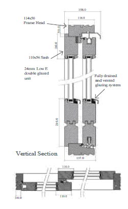 Technical drawing for Timber lift and slide Doors Reading, Reading