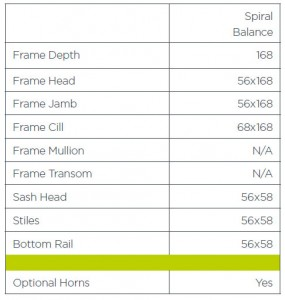 Specification table for our Spiral Balance Vertical Sliding Timber Windows Berkshire, Bracknell