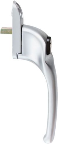 traditional brushed chrome-cranked handle from AJ Windows and Doors