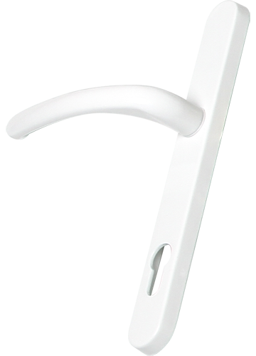 white traditional door handle from AJ Windows and Doors