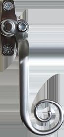 elegance brushed chrome monkey tail handle from Balmoral Windows