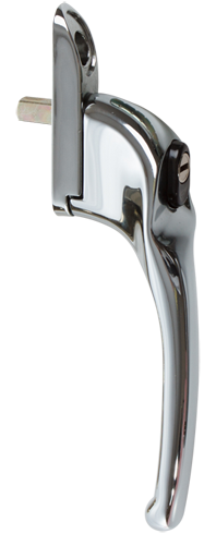 traditional bright chrome cranked handle from DGS Windows Derby
