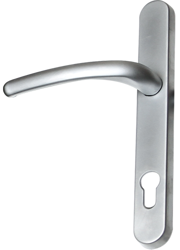 brushed chrome traditional door handle from DGS Windows Derby