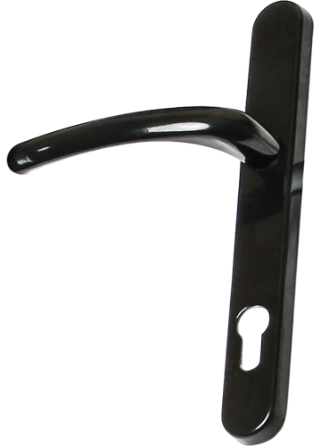 black traditional door handle from Price Glass and Glazing Ltd