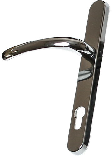bright chrome traditional door handle from Price Glass and Glazing Ltd