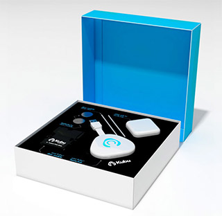 Hubu home kit box displaying the home hub, plug and modual