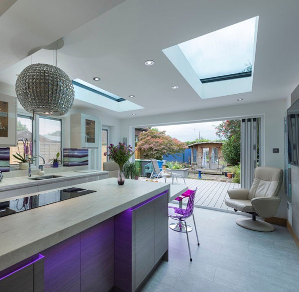 Internal shot of Opal Rooflight in kitchen extension